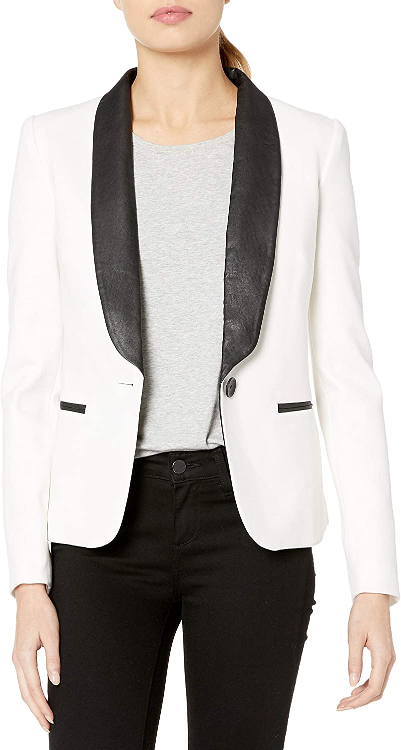 James Jeans Women's Tuxedo Jacket with Faux-Leather Lapels In Ivory Black Ponte