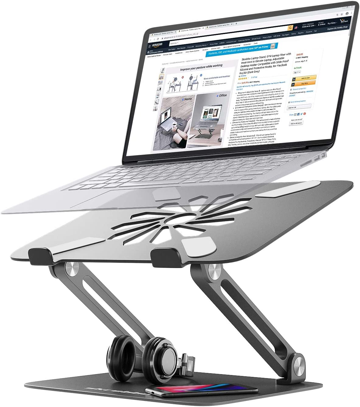 Skrebba Laptop Stand, EPN Laptop Riser with Heat-Vent to Elevate Laptop, Adjustable Height Laptop Stand Holder with Slide-Proof Silicone and Protective Hooks, for MacBook Pro/Air (Dark Grey)