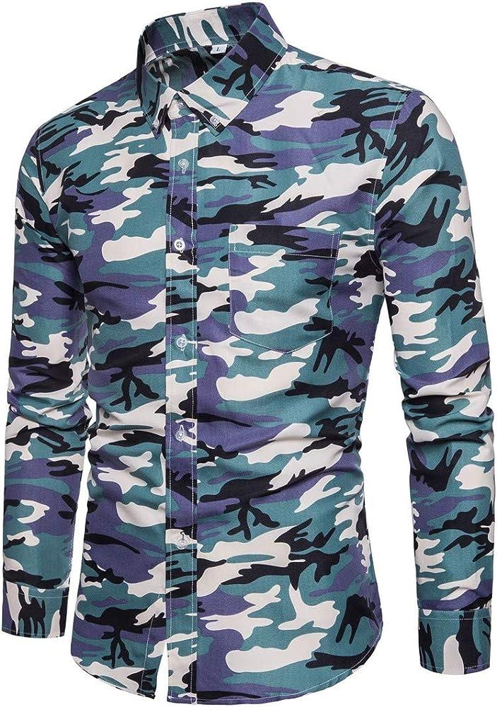 AiRobin Camisa de Manga Larga de Camuflaje básica para Hombre Silm, Azul, M: Amazon.es: Ropa y accesorios