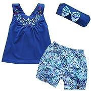 iiniim Baby Girls 3PCs Flower Outfit Headband + Vest Top + Shorts Clothes Set Blue 9-12 Months