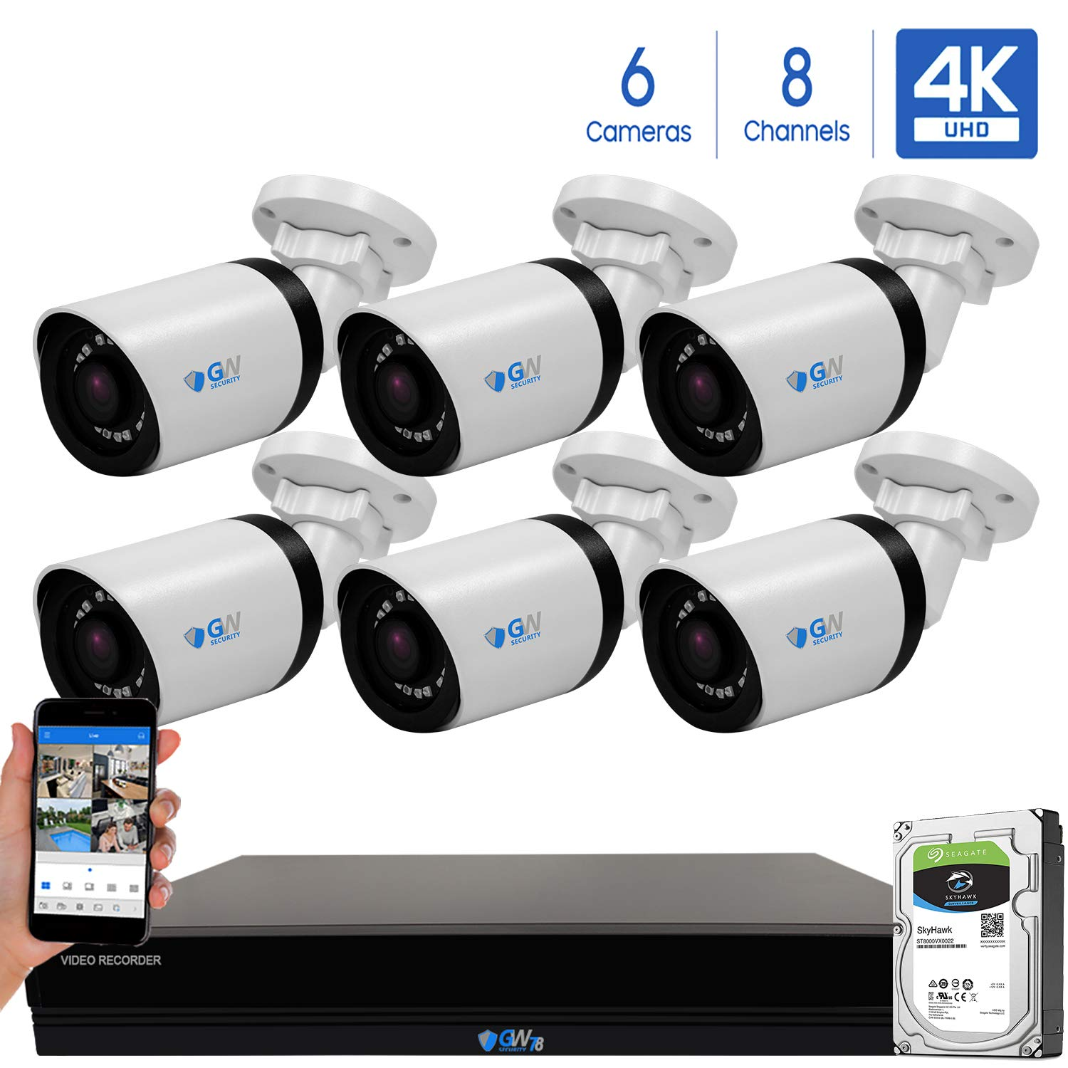 GW 8 Channel 4K H.265 CCTV DVR Security System with 6 x HD 8MP 2160P Outdoor Indoor 4K Bullet Security Cameras, 100ft Night Vision, 2TB Hard Drive Pre-Installed