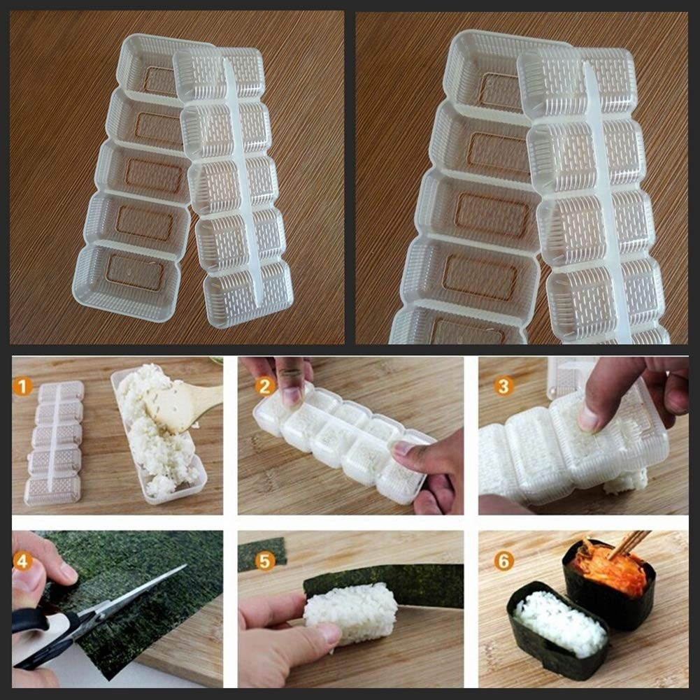 yanQxIzbiu Silicone Mold,5 Grids Mold for Sushi Maker Nori Rice Ball Roll Mold DIY Kitchen Tool
