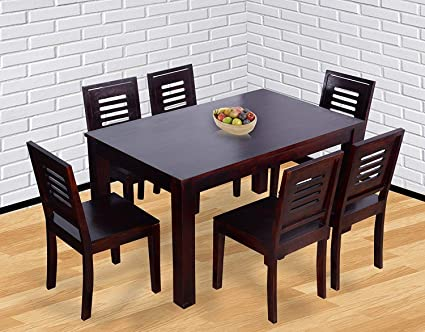 Amazon.in & PUSHPA FURNITURE Sheesham Wood Dining Table 6 Seater | Dinning Table with 6 Chairs | Dining Room Furniture | Dark Walnut Finished