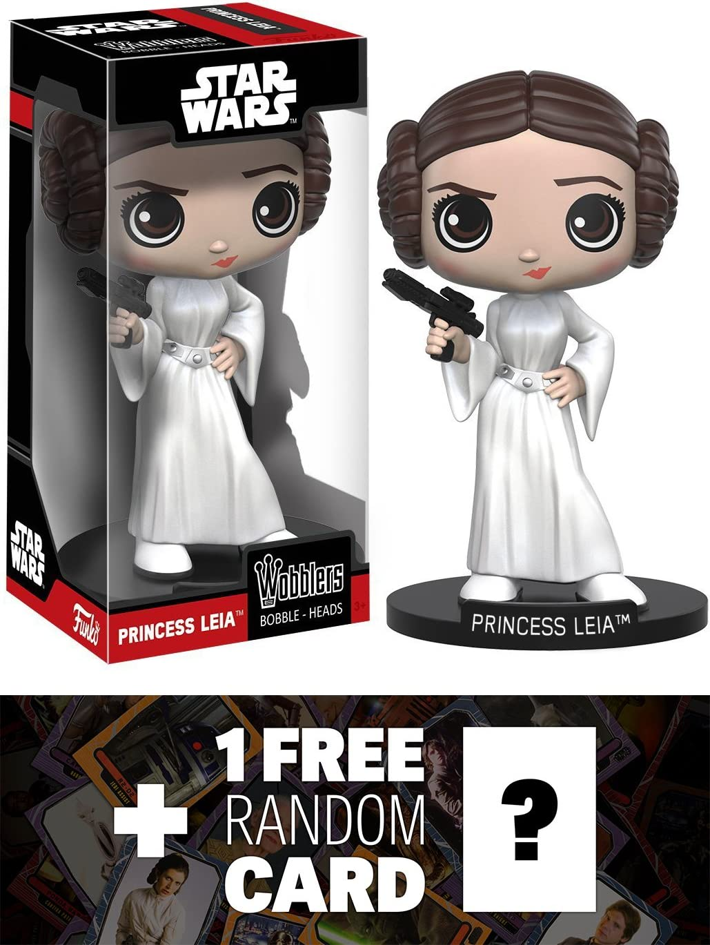 BCC9481027 107181 Princess Leia: Funko Wobblers x Star Wars Vinyl Figure 1 FREE Official Star Wars Trading Card Bundle