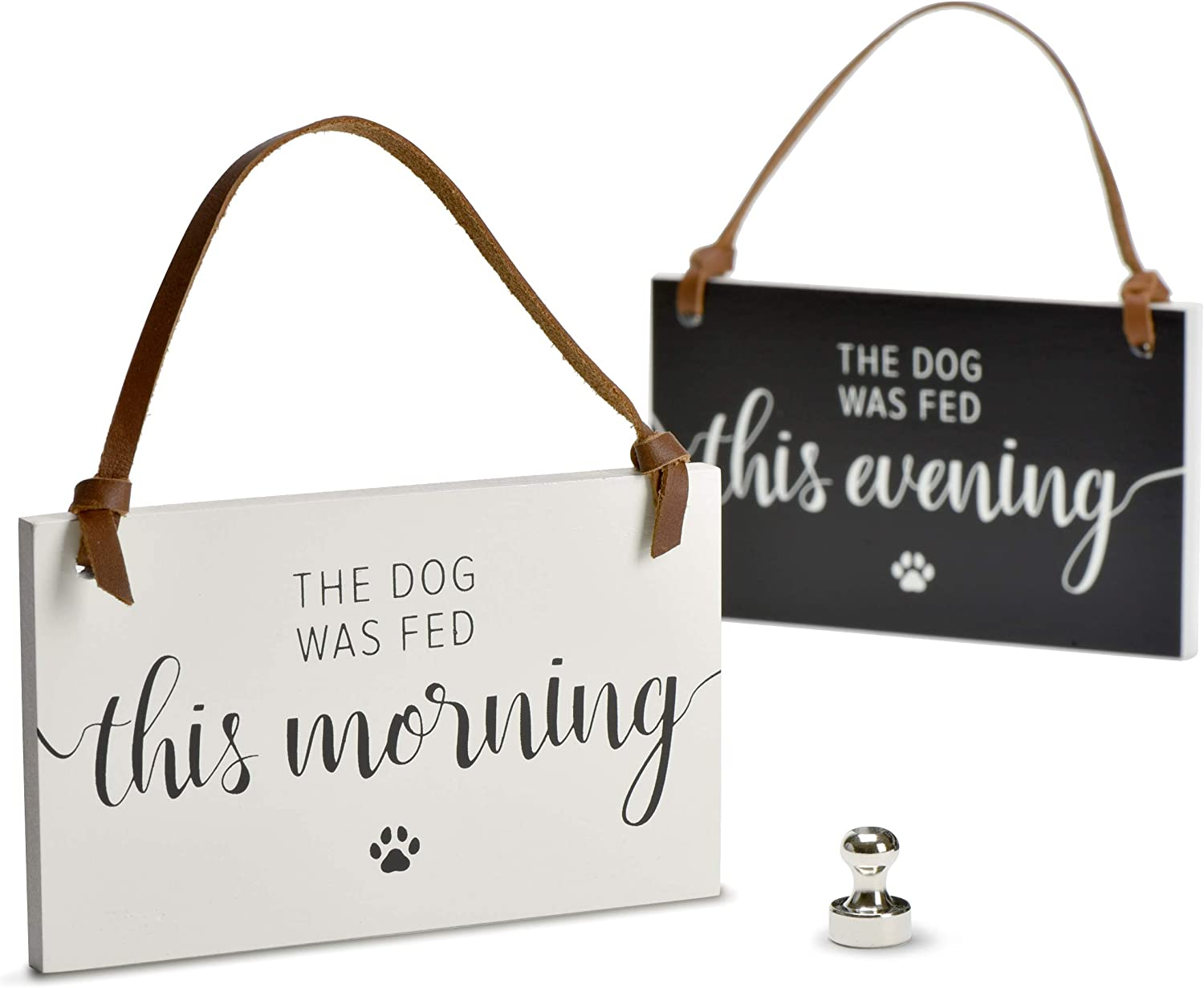 PYROH Dog Feed Reminder - Wooden Dog Feeding Schedule - Feed Dog Magnet Sign - Did You Feed The Dog - AM/PM Indicator to Replace Dog Feeding Chart