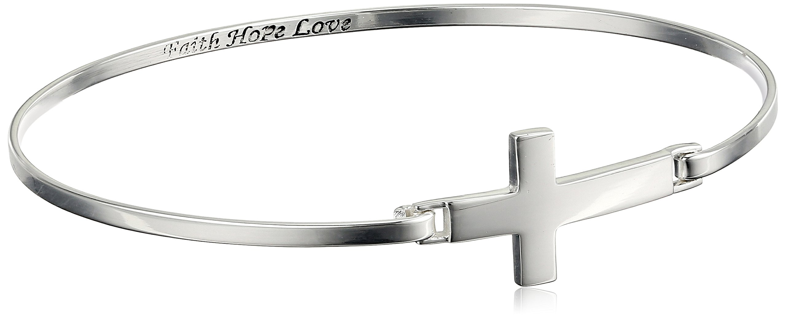 Sterling Silver Sideways Cross Engraved Bangle Bracelet, 8'' by Amazon Collection