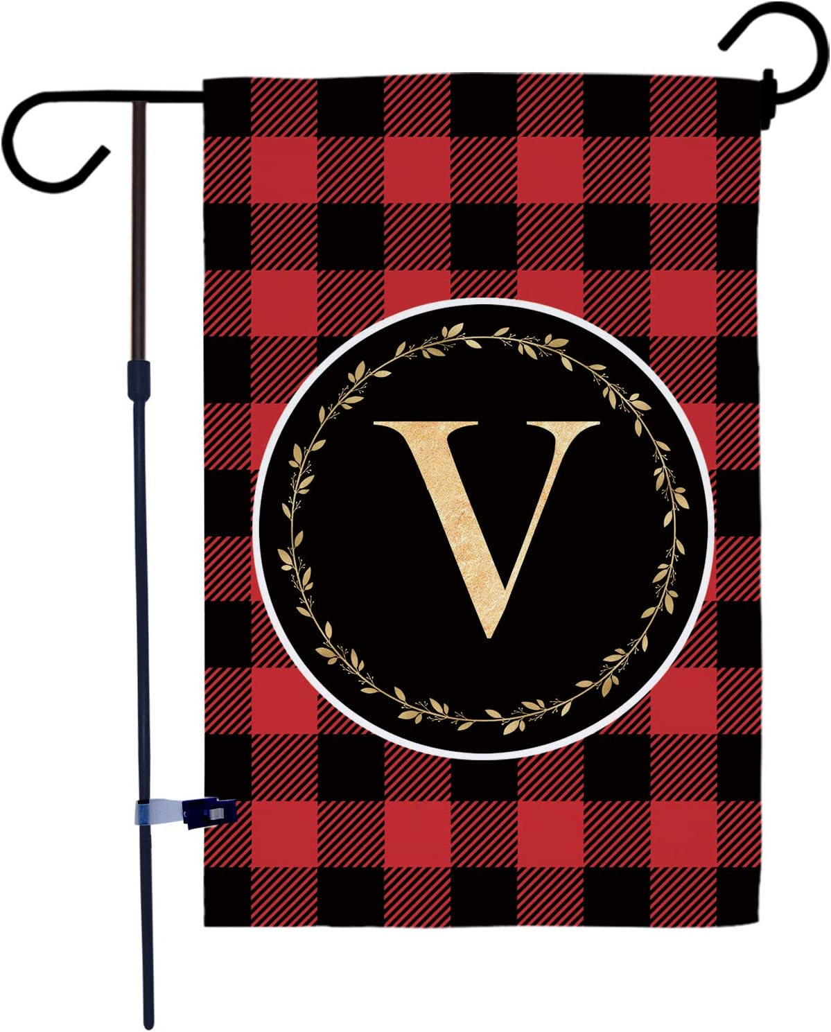 AKPOWER Small Garden Flag Black and Red Plaid Check Vertical Double Sided Farmhouse Burlap Yard Outdoor Decor Classic Monogram Letter 12.5 x 18 Inch V