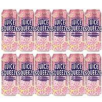 Juice Squeeze Ruby Grapefruit Sparkling Juice, Sweetened with Fruit Juice & Monk Fruit, Under 100 Calorie, 12 oz (12 Pack)
