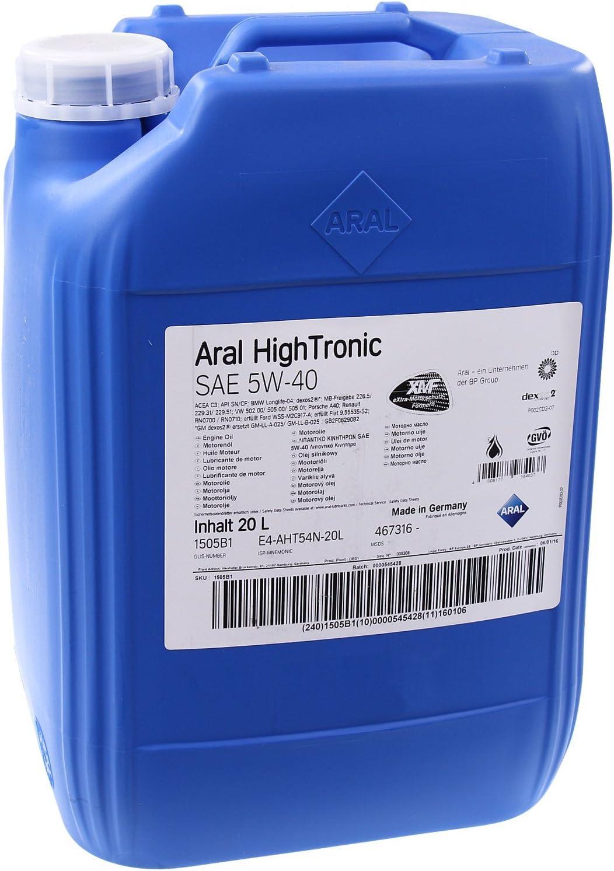 Aral Hightronics 5w 40 Motorenöl 20 Liter Auto