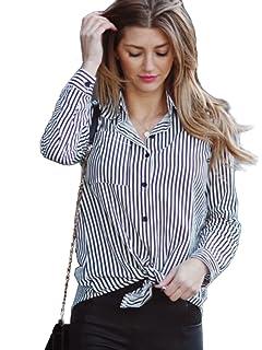 760e876797 Milumia Women's Lapel Vertical Striped Equipment Button-Front Blouse
