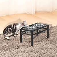 PaWz Dual Elevated Raised Pet Dog Feeder Bowl Stainless Steel Food Water Stand S: 30(L) x16(W) x15(H) cm