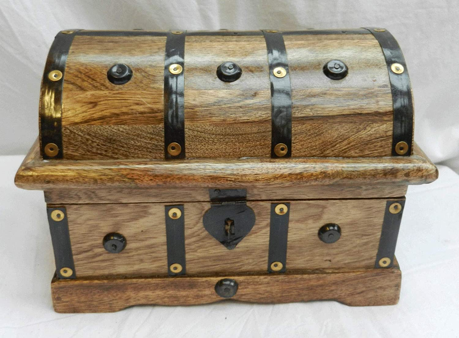Pirate Treasure Chest Large Metal Bound Wooden Cabin Trunk New Storage Box