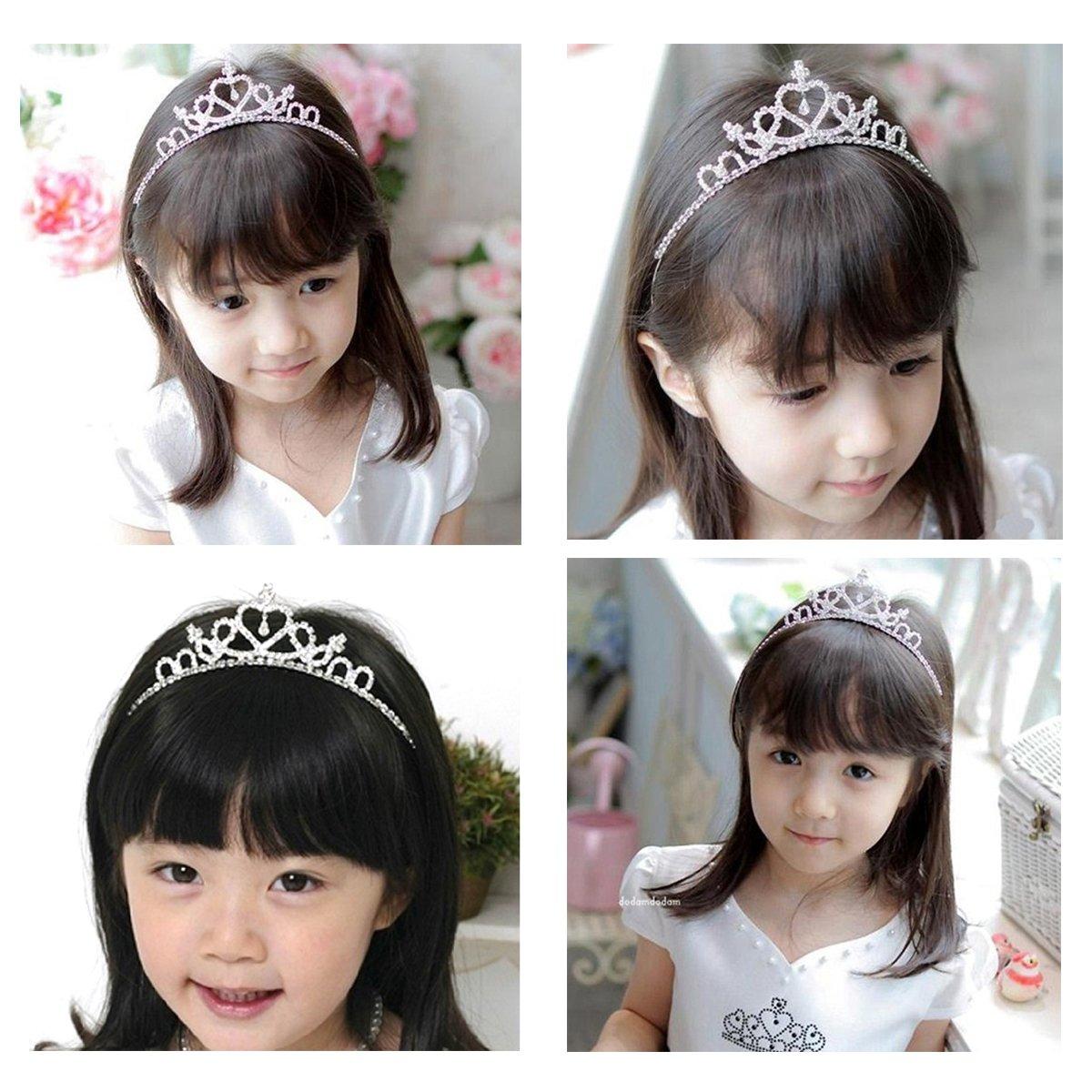 Delicate Wedding Party Children Flower Girl Crystal Rhinestones Heart Shaped Crown Headband Tiara (Silver)