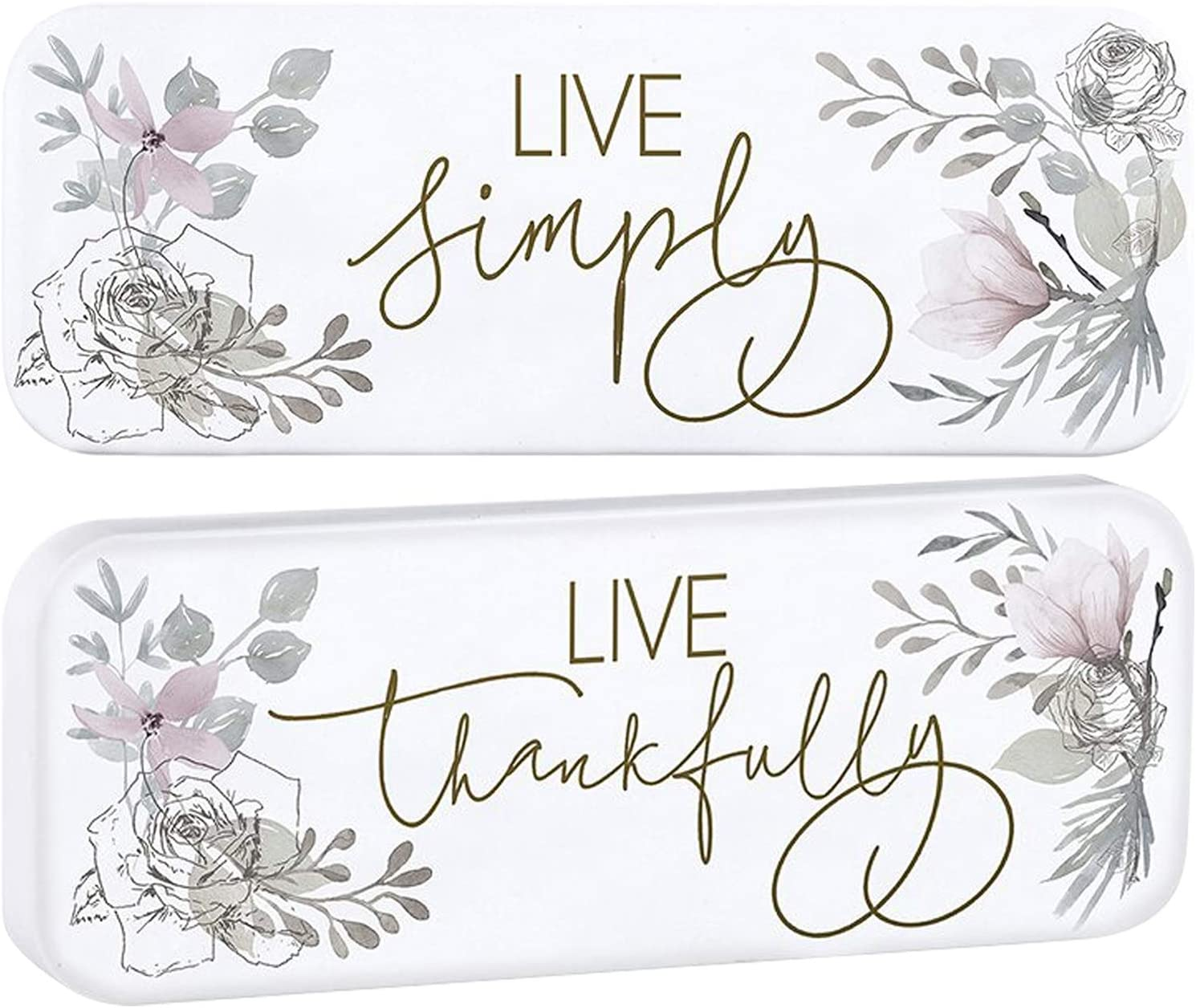 Live Simply, Live Thankfully Sign for Home, Kitchen, Office, Bedroom Decor | Hanging and Shelf Standing Feature | Set of 2 Decorative Enamel Signs with Inspirational Sayings