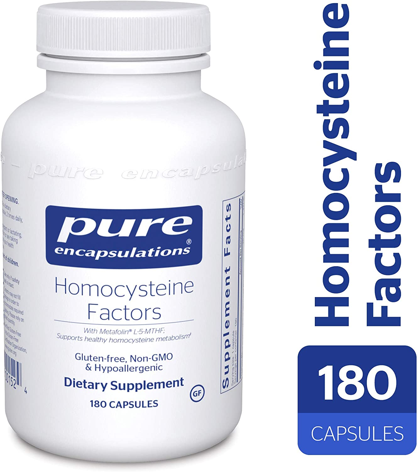 Pure Encapsulations – Homocysteine Factors – Hypoallergenic Supplement Helps Maintain Normal Homocysteine Levels and Cardiovascular Health* – 180 Capsules