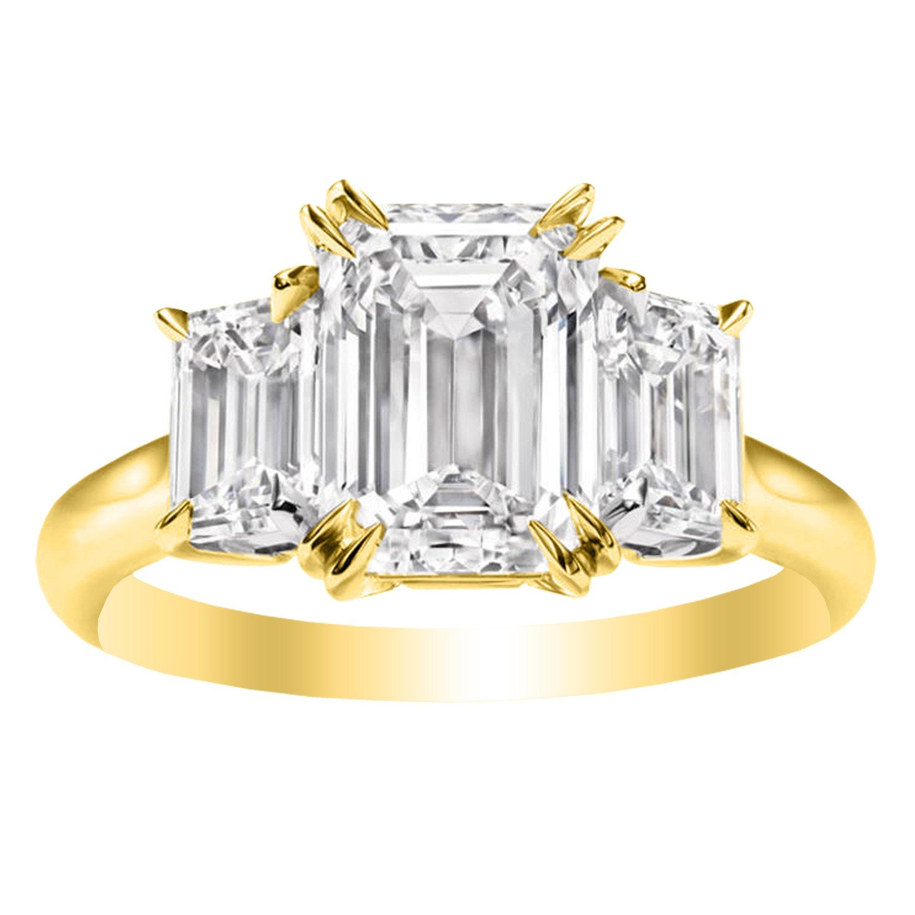 1 Carat 14K Yellow Gold Emerald Cut 3 Three Stone Diamond Engagement Ring (G Color VS1-VS2 Clarity)