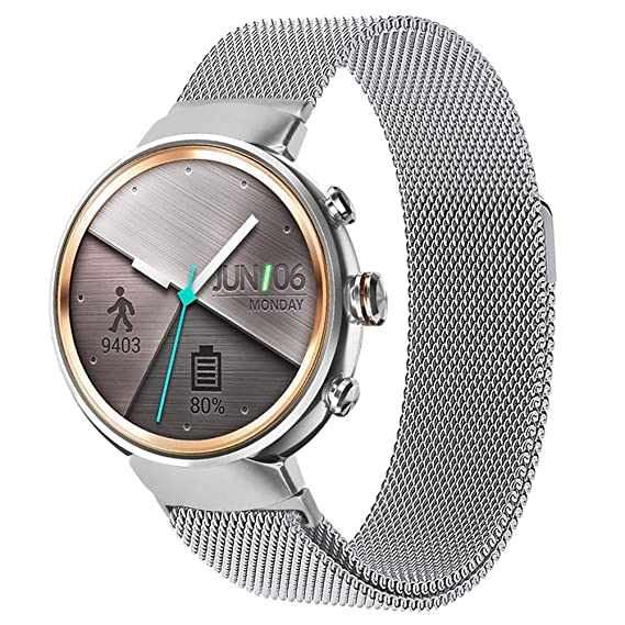 ZENWATCH 3 Band,Oitom premium Woven Milanse loop stainless steel watch band strap for ASUS ZENWATCH 3 Smart Fitness Watch(Silver Large 6.10