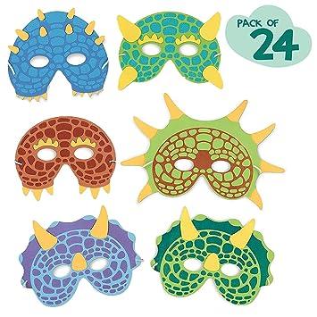 24 Piezas Máscaras para fiestas de dinosaurios, Máscaras de espuma para disfraces de dinosaurios Suministros para fiestas de cumpleaños Mascarada para ...