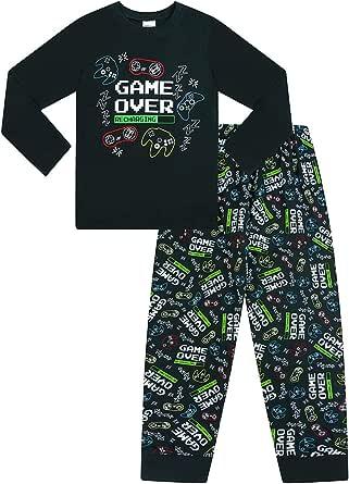 The Pyjama Factory Game Over Gaming - Pijama largo de algodón negro