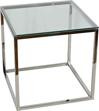 Cortesi Home Kent End Table Silver Stainless Steel with Glass Top 22 Square