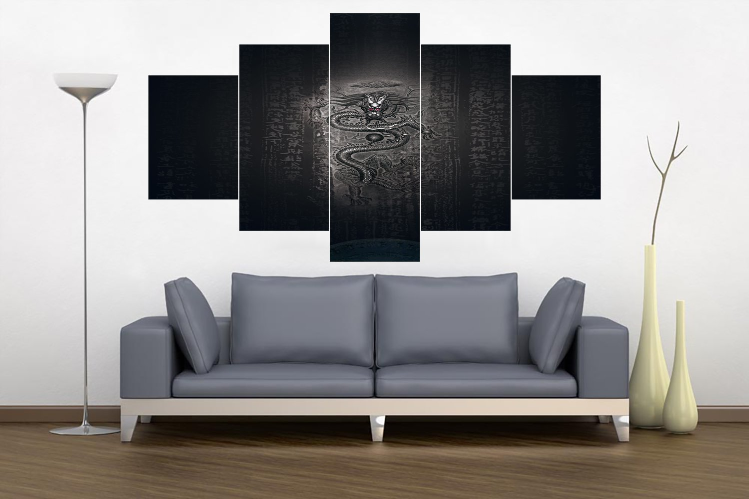Extra Large Wall Art 5 Panel Cultural Religion Dragon Painting on Canvas Wood Framed Ying Yang Black White Modern Abstract Multi panel Artwork Home Decor for Home Living Ready to Hang(60''Wx40''H)