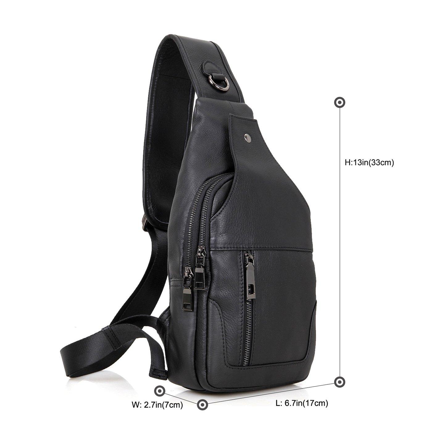 Texbo Genuine Full Grain Leather Small Body Sling Bag Travel Hiking Backpack