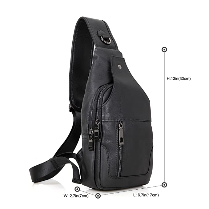 Texbo Genuine Full Grain Leather Small Body Sling Bag Travel Hiking Backpack 6f06c0a5f589
