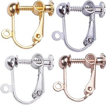 6 Pairs Copper Ear Clip On Screw Earrings Hook Earwire DIY Finding With Loop