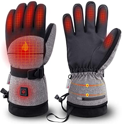 Rechargeable Heated Gloves Battery Electric Ski Gloves with 3 Heating Levels ...