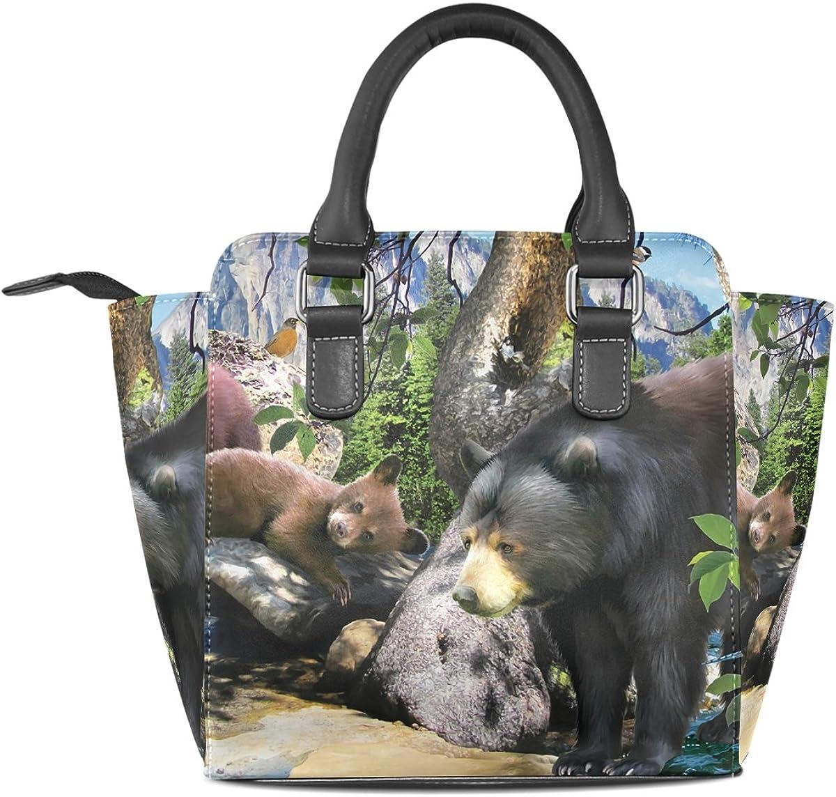 Jennifer PU Leather Top-Handle Handbags Cool Black Bears Art Single-Shoulder Tote Crossbody Bag Messenger Bags For Women