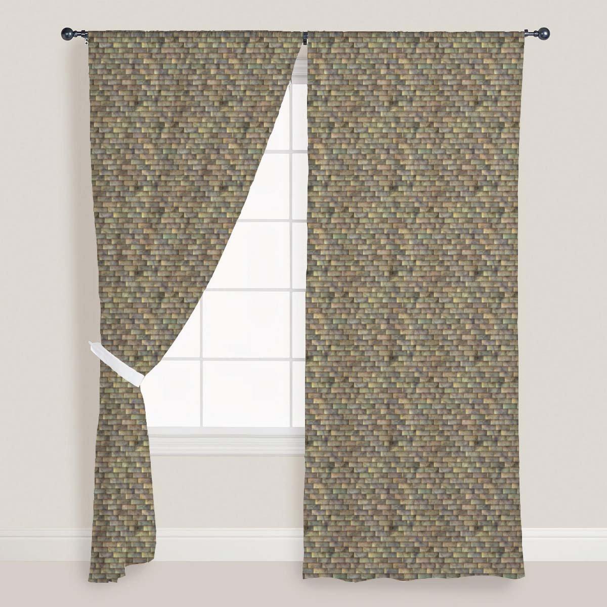 AZ Tiled Art Door & Window Curtain Satin 4feet x 10feet; SET OF 3 PCS