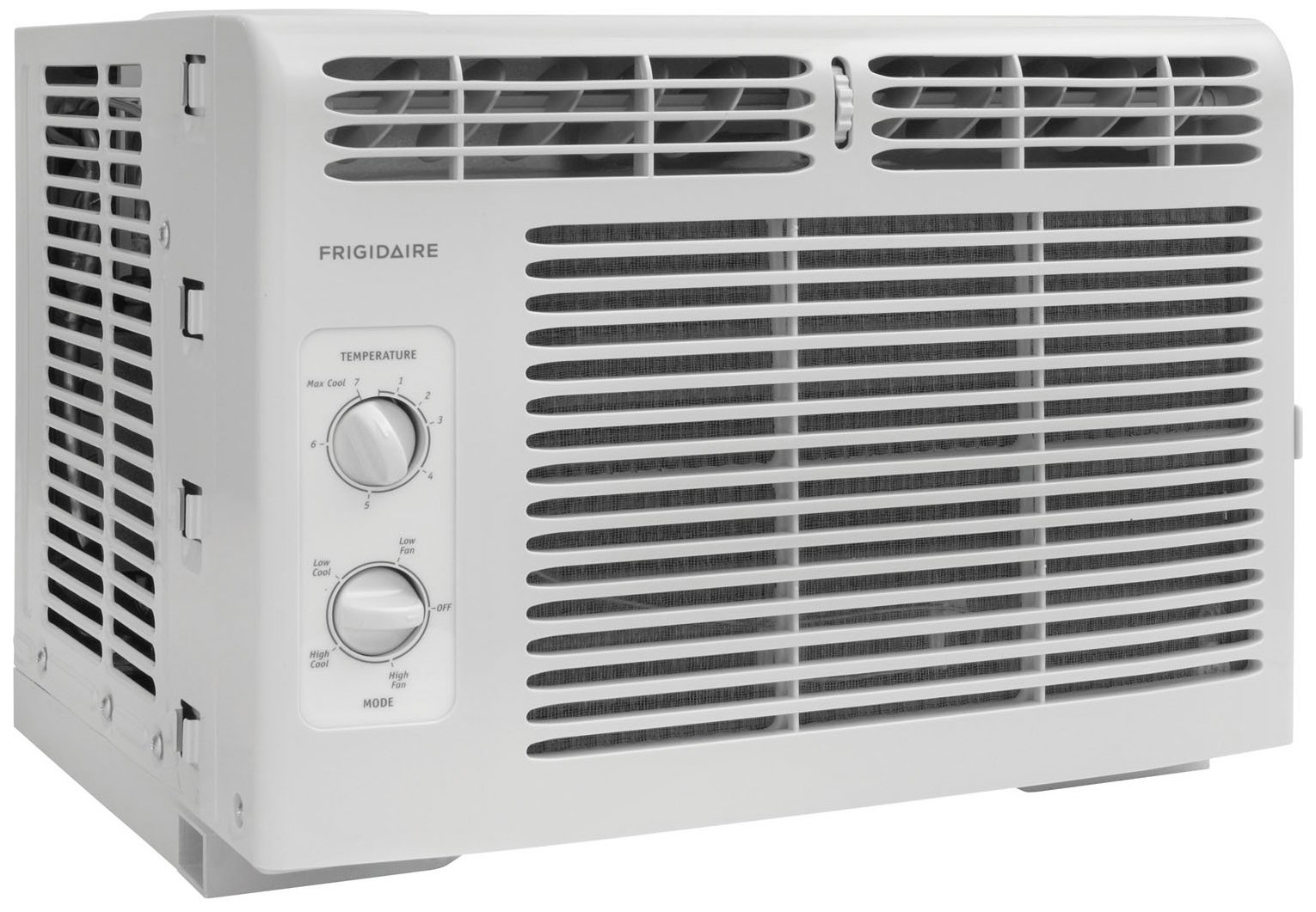 Frigidaire FFRA0511R1E 5, 000 BTU 115V Window-Mounted Mini-Compact Air Conditioner with Mechanical Controls 1 5,000 BTU mini-compact air conditioner for window-mounted installation uses standard 115V electrical outlet (Window mounting kit included) Quickly cools a room up to 150 sq. ft. with dehumidification up to 1.1 pints per hour Mechanical rotary controls, 2 cool speeds, 2 fan speeds, and 2-way air direction.Accommodates windows with a minimum height of 13 inches and width of 23 inches to 36 inches