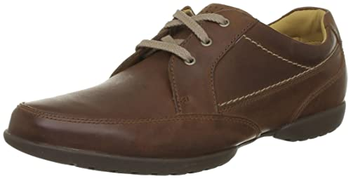 Clarks Recline Out Mens Derby LaceUp Tan Leather 65 UK