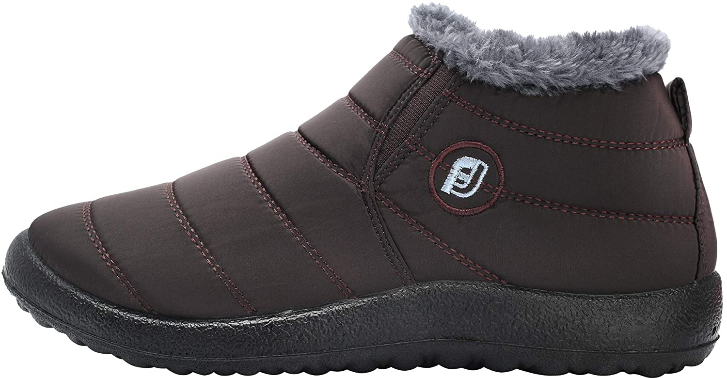 US Women Brown Z-M403-Coffee-37 Women JOINFREE Unisex Slip On Booties Winter Waterproof Snow Sneakers Rubber Sole Coffee 5.5 B M