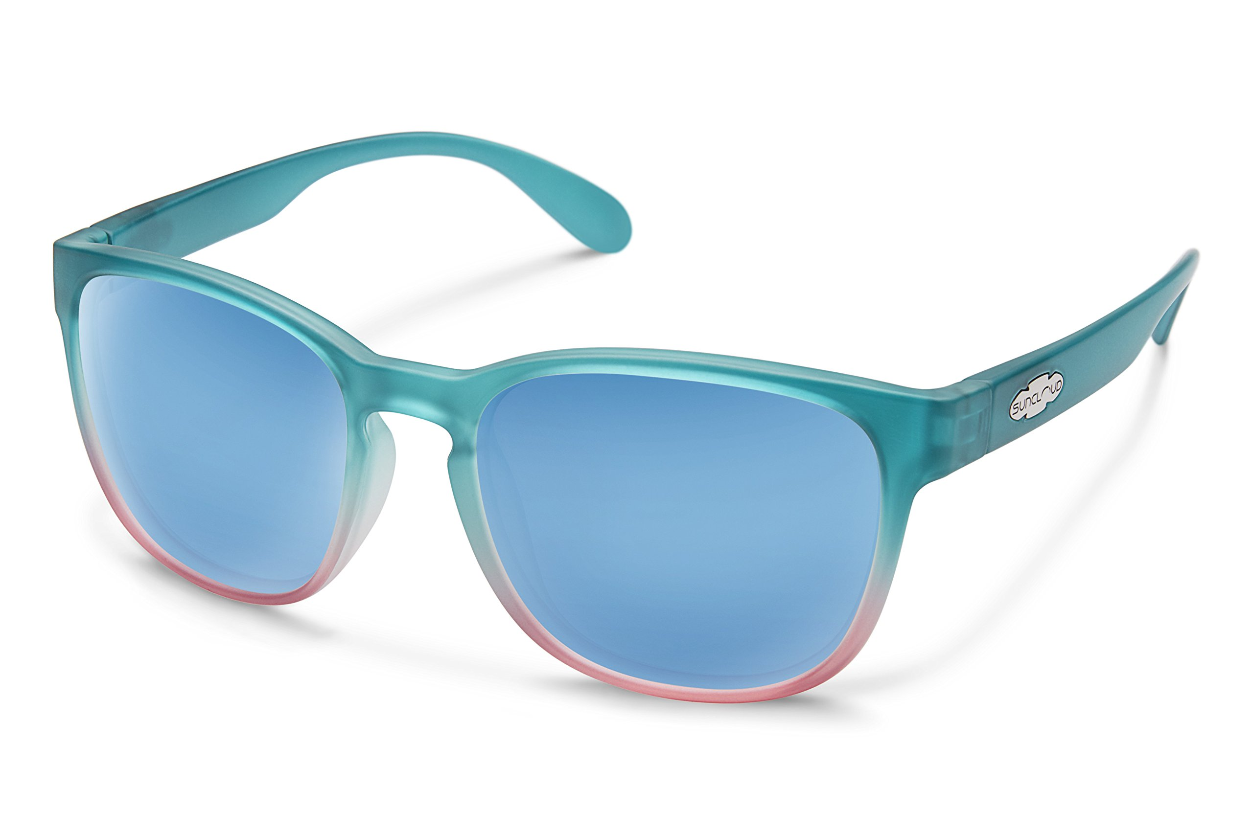 Suncloud Loveseat Sunglasses, Aqua Pink Fade Frame/Blue Mirror Polycarbonate Lens, One Size