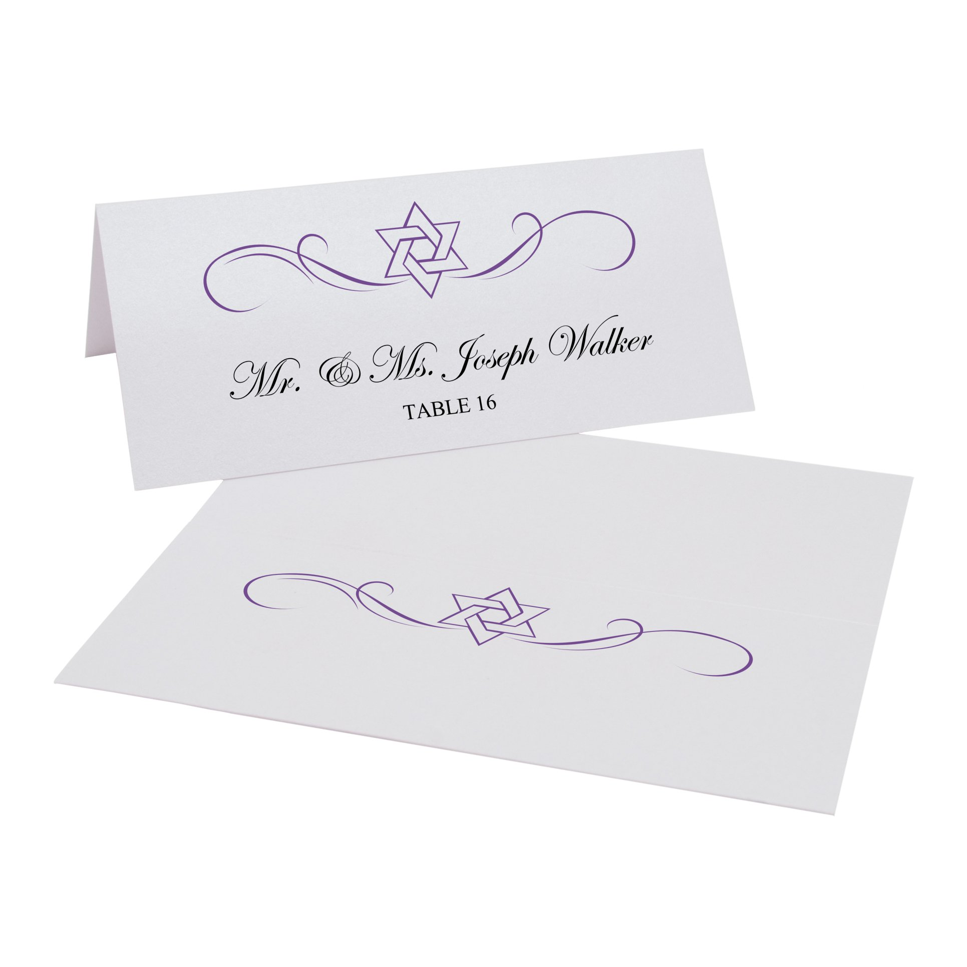 Intertwined Star of David Flourish Jewish Easy Print Place Cards, Pearl White, Purple, Set of 450 (113 Sheets) by Documents and Designs