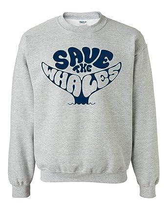 ba4184bff07 Save The Whales Unisex Crewneck Cool Fashion Environmental Sweatshirts  Sports Grey Small
