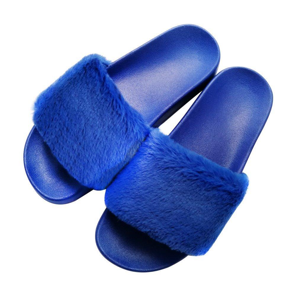 COFACE Damen Hausschuh Weiche Flache Sandalen Flauschige mit Suuml;szlig;er Pluuml;sch Pantoffel Outdoor/Indoor in 5 Farben  36 EU|Blau