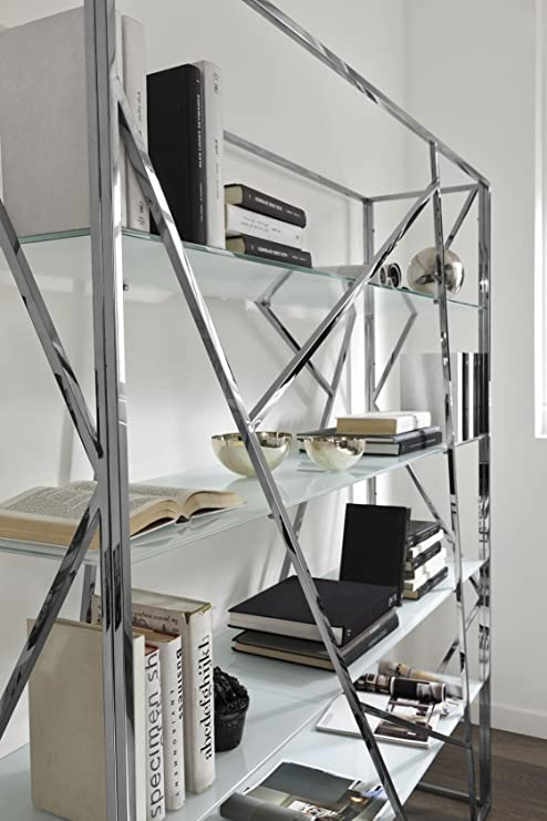 Libreria Metallo E Vetro.Zamagna Design Libreria Bifacciale Struttura Metallo Cromato Ripiani