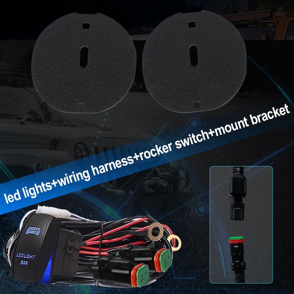 Turbosii 2pcs 3x3 Led Pods Cube Driving Lights Spot Jeep Tj Windshield Wiring Beam Dt Plug Harness Rocker Swicth Lower Bumper Mounting Brackets Kit