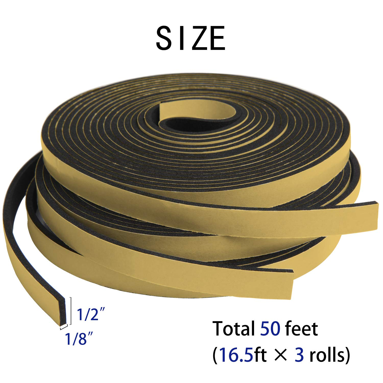 Neoprene Foam Weatherstrip Tape for Automotive 33 Ft Length 2 Rolls of 16.5 Ft Each Adhesive Weather Stripping 1 W X 1//8 T