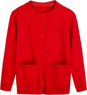 Rjxdlt Girls Uniform Cardigan Sweater Long Sleeves Button Cotton Sweaters for Little Girl