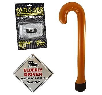 NOVELTY ELDERLY DRIVER CAR WINDOW SIGN INFLATABLE WALKING STICK EMERGENCY PLASTIC PANTS