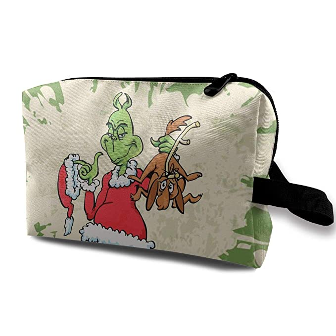 MyLoire Portable Travel Cosmetic Makeup Bag - The Grinch Stole Christmas Shaving Kit Buggy Bag Organizers