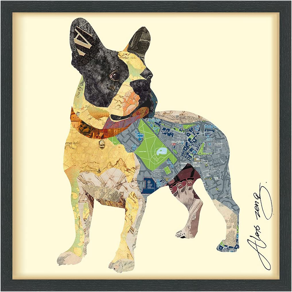 Empire Art Direct Boston Terrier Dimensional Collage Handmade by Alex Zeng Framed Graphic Dog Wall Art, 25 x 25 x 1.4 , Ready to Hang, 1