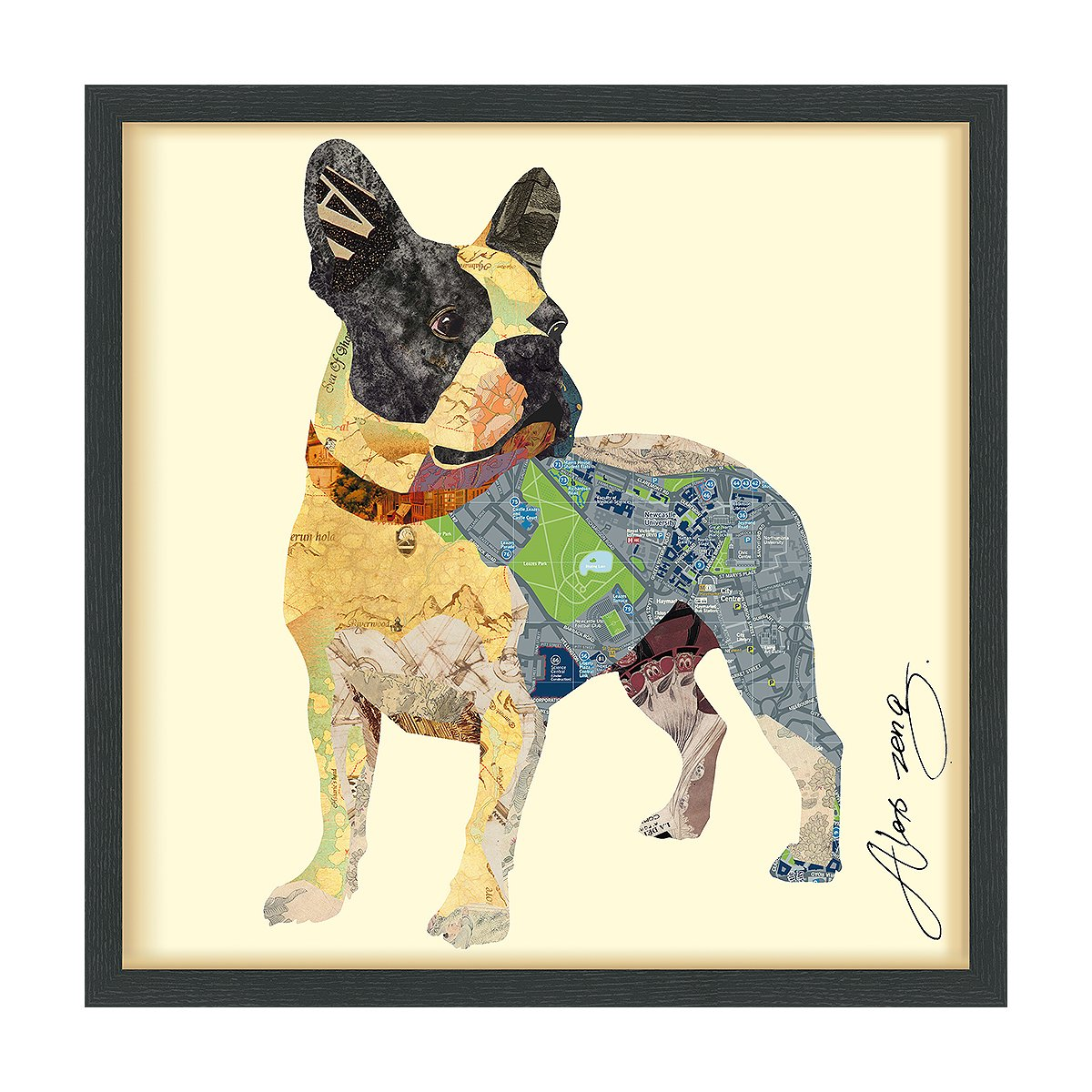Empire Art Direct ''Boston Terrier'' Dimensional Art Collage Hand Signed by Alex Zeng Framed Graphic Wall Art