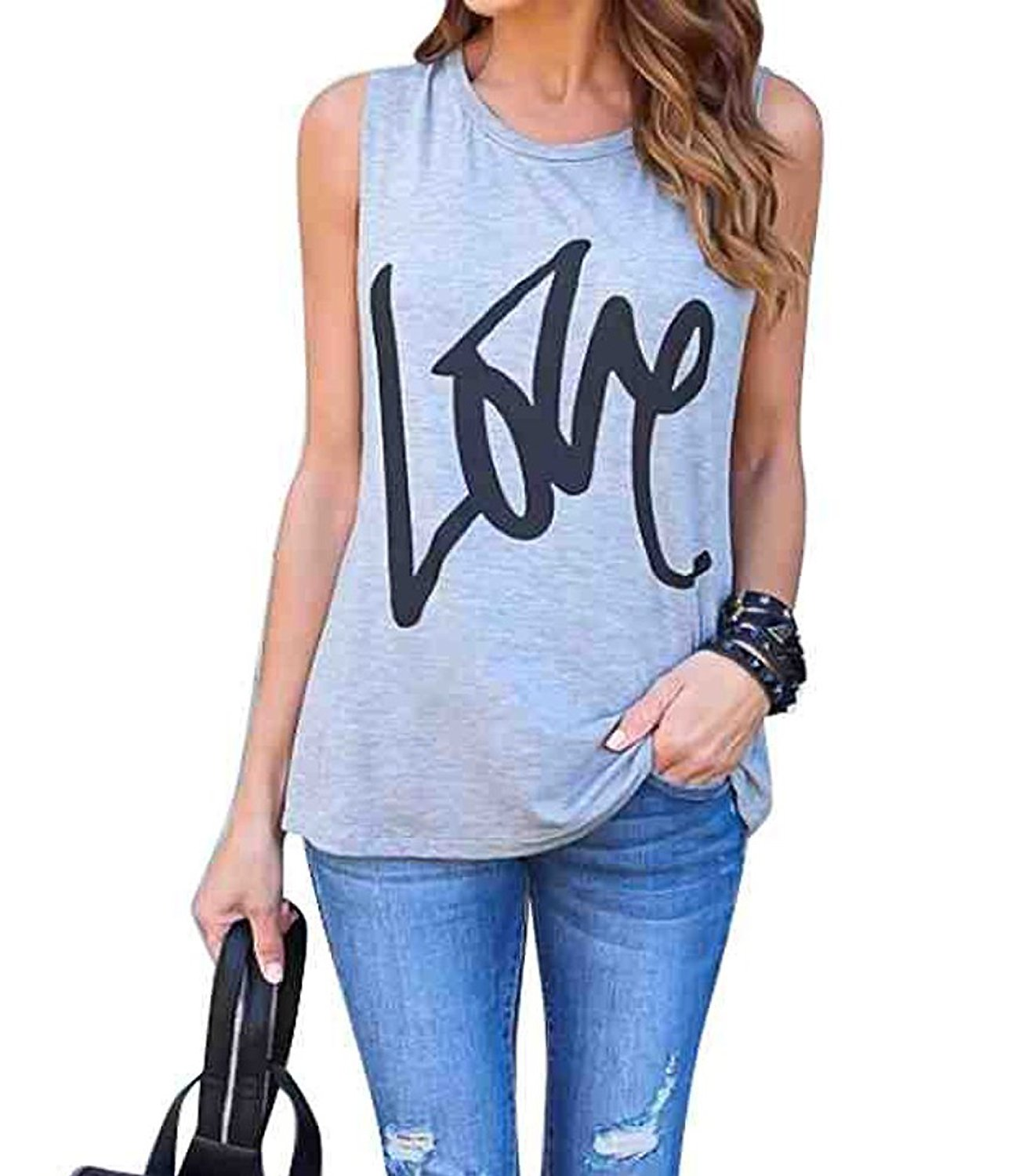FAYALEQ Womens Love Letters Print Tank Tops Sleeveless Casual Vest T-Shirt Tees Blouse Size US-S/Medium (Gray)