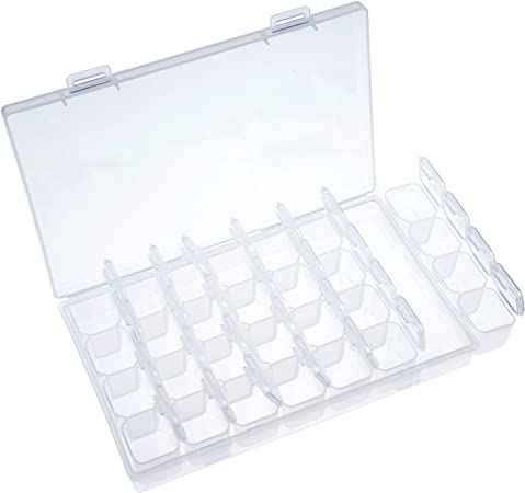Caja de Almacenamiento Transparente de Plástico Caja de Abalorios Organizador Ajustable con 28 Compartimentos Pequeños: Amazon.es: Hogar