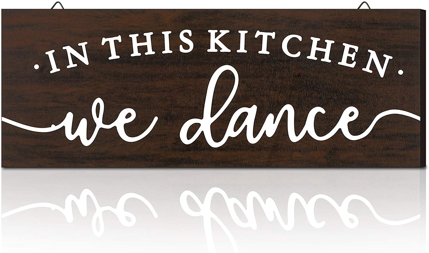 Jetec Rustic Wooden in This Kitchen We Dance Sign Farmhouse Rustic Wall Art Kitchen Sign Home Decor for Kitchen Dining Living Room Bar Restaurant Decoration (Dark Brown)