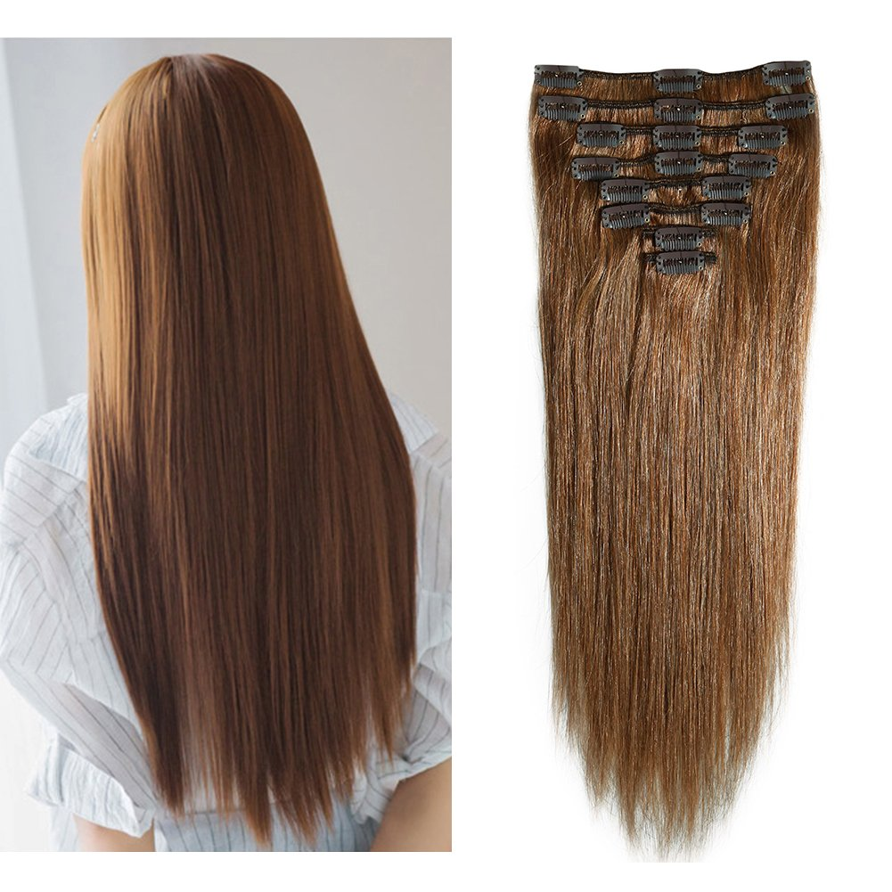 Amazon Clip In Remy Human Hair Extensions Light Brown 10 24